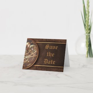 Save the date steampunk gears gold brown card
