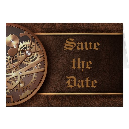 Save the date steampunk gears gold brown stationery note card