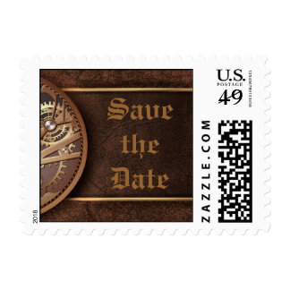 Save the date steampunk gears gold brown stamps