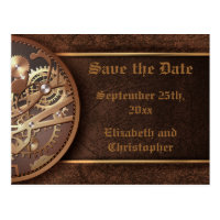 Save the date steampunk gears gold brown postcard