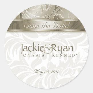 Save the Date Sticker Elegant Leaf Floral Gold