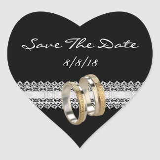 Save The Date Sticker Lace Gold Wedding Rings