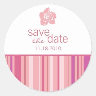 Save The Date Sticker-Modern Stripes (Pink) Classic Round Sticker