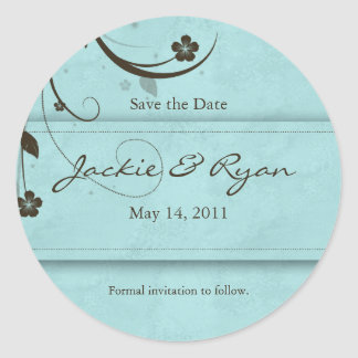 Save the Date Sticker Watery blue flower