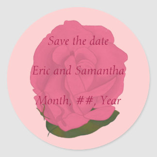 Save the date stickers for weddings, pink rose