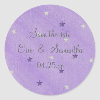 Save the date stickers purple and silver stars
