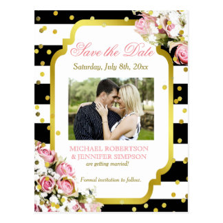 Save the Date Stripes,Pink Roses and Confetti Postcard