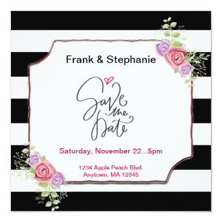 Save the Date Stripes with Floral Card