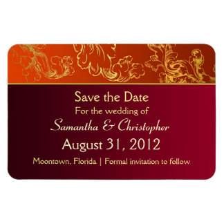 save the date stylish red orange colors magnets