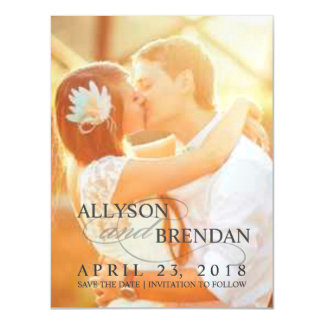 Save the Date Stylish Wedding Photo Magnetic Card