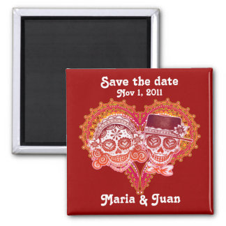 Save the Date Sugar Skull Couple Magnet