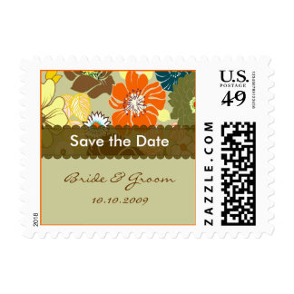 Save the Date, summer florals Postage