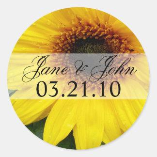 Save the Date Sunflower Classic Round Sticker
