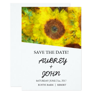 Save the Date Sunflower Floral Digital Watercolor Card