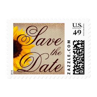 Save the Date Sunflower Wedding Postage Stamps