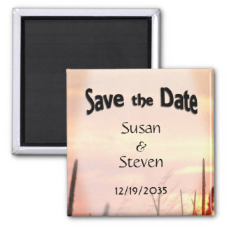Save the Date Sunset Field Theme Wedding Magnet