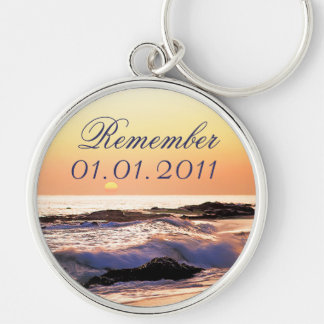 Save the Date Sunset Keychain Ocean Sea