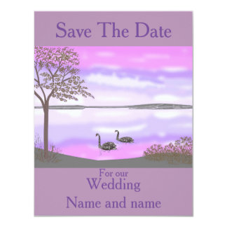 Save The Date, sunset lake swans, Wedding cards. Card