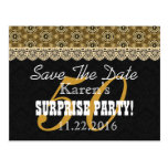 Save the Date SURPRISE 50th Birthday V002B GOLD Post Cards