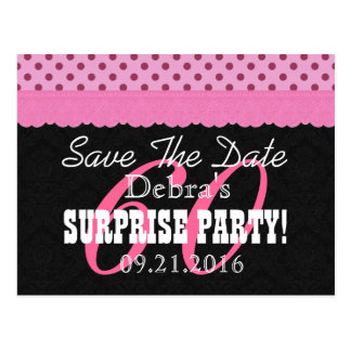 Save the Date SURPRISE 60th Birthday V001C PINK Postcard