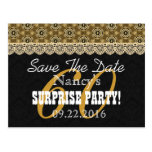 Save the Date SURPRISE 60th Birthday V002C GOLD Postcard