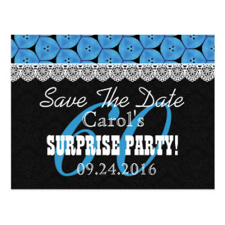 Save the Date SURPRISE 60th Birthday V005C BLUE Postcard