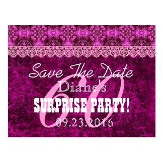 Save the Date SURPRISE 60th Birthday V006C MAGENTA Postcard