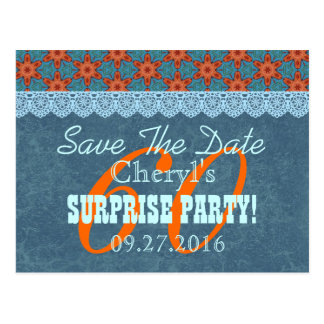 Save the Date SURPRISE 60th Birthday V007C BLUE Postcard