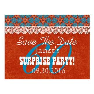 Save the Date SURPRISE 60th Birthday V008C ORANGE Postcard
