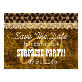 Save the Date SURPRISE 60th Birthday V009C GOLD Postcard