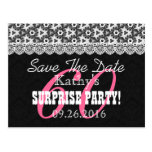 Save the Date SURPRISE 60th Birthday V010C BLACK Postcard