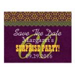 Save the Date SURPRISE 60th Birthday V011C PURPLE Postcards