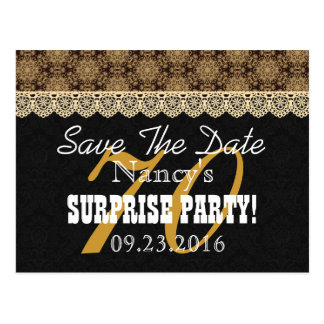 Save the Date SURPRISE 70th Birthday N02C GOLD Postcard