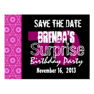 Save the Date Surprise 70th Party Pink W1750 Post Cards
