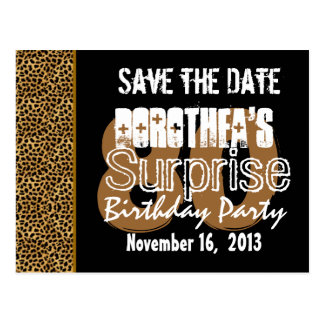 Save the Date Surprise 80th Party LEOPARD V01 Postcard