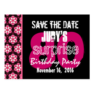 Save the Date Surprise 80th Party Pink Floral V009 Postcard