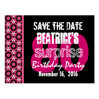 Save the Date Surprise 80th Party Pink Quilt V005 Postcard