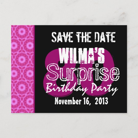 save the date surprise 80th party pink w1751 announcement postcard