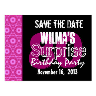 Save the Date Surprise 80th Party Pink W1751 Postcard