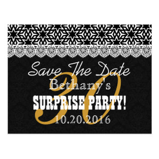 Save the Date SURPRISE Birthday V003 BLACK WHITE Postcard