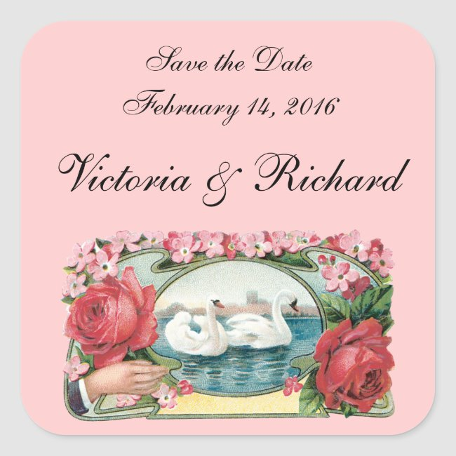 Save the Date Swans and Roses Custom Stickers