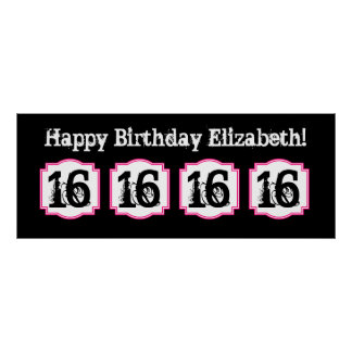 Save the Date Sweet 16 Birthday Party A17a PINK Poster