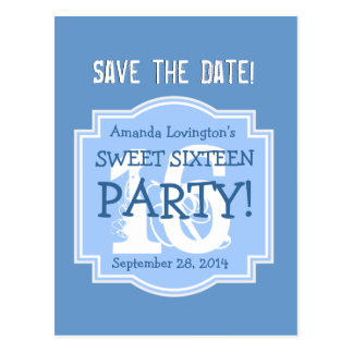 Save the Date Sweet 16 Birthday Party V005 BLUE Postcard