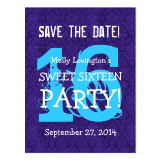 Save the Date Sweet 16 Birthday Party V01D PURPLE Postcard
