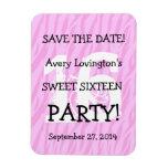 Save the Date Sweet 16 Birthday V05 PINK ZEBRA Rectangular Photo Magnet