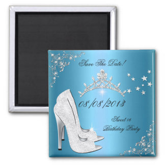 Save The Date Sweet 16 Blue High Heels Shoes Tiara 2 Inch Square Magnet