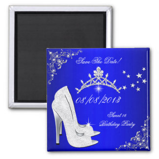 Save The Date Sweet 16 Blue High Heels Shoes Tiara Magnet