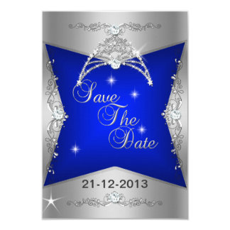 Save The Date Sweet 16 Blue Silver Tiara 3.5x5 Paper Invitation Card