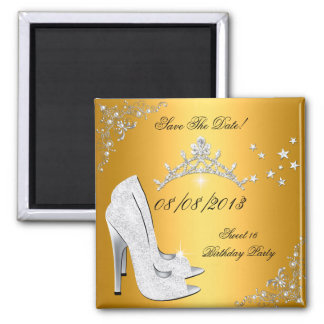 Save The Date Sweet 16 Gold High Heels Shoes Tiara 2 Inch Square Magnet