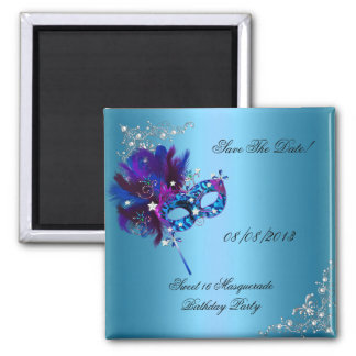 Save The Date Sweet 16 Masquerade Blue 2 Inch Square Magnet